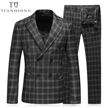 TIAN QIONG Black Double Breasted Suit Men Custom Made Plaid Slim Fit Wedding Groom Dress Suits for Men Costume Homme 3 Pcs Terno - DISCOUNT ITEM  20% OFF All Category