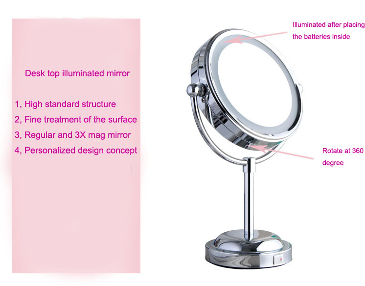 6'' bathroom LED mirror desk makeup illuminator for cosmetic and shaving magnifying function bathroom accessories high quality 9 brass 1x3x magnifying bathroom wall mounted round 25 led cosmetic makeup mirror with lighting mirror 2068