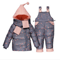 2 years Baby Fashion Warm Thicken Print Clothes Sets for Girls Boys Down Jacket+Strap Pant+Scarf Clothing Overalls Suit Clostume