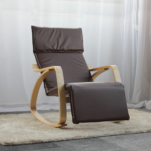 Comfortable Relax Rocking Chair Chaise Lounge PU Leather Cushion Living Room Furniture Armchair Recliners Adjustable Footrest