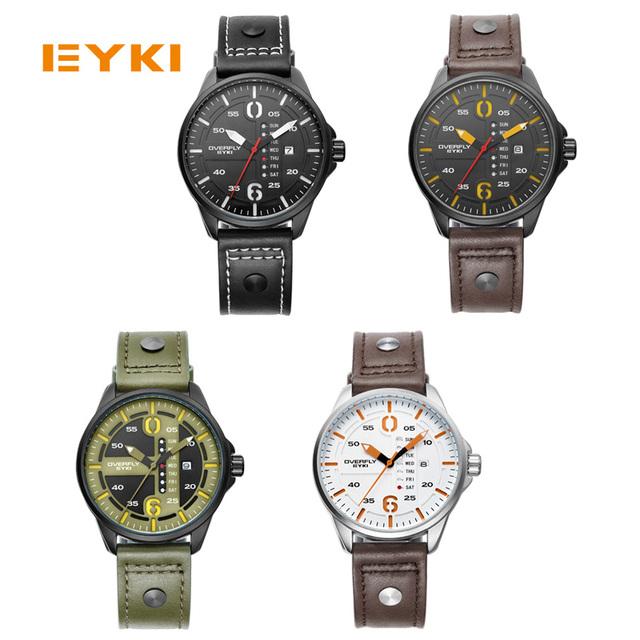 Men Genuine Leather Strap Wrist Watch Luxury Casual Big Dial Quartz Watches