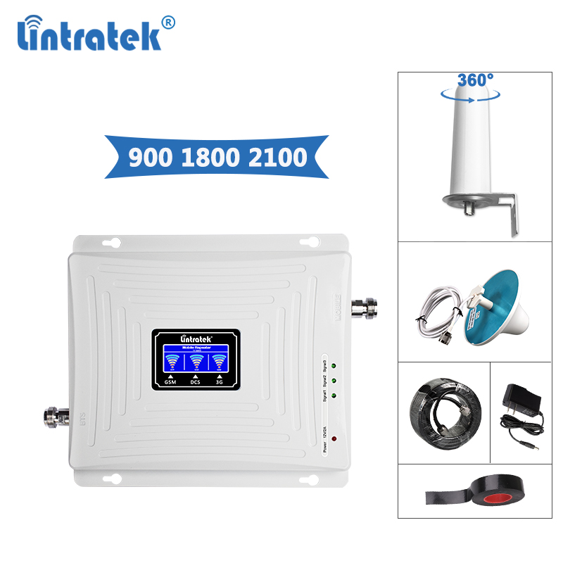 Lintratek Triband Signal Repeater 2G 3G 4G Booster GSM 900 DCS LTE 1800 WCDMA 3G 2100MHz Repeater 900 1800 2100 Amplifier Kit @6