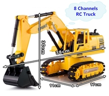 New RC engineering vehicles toys,1:24 Wireless Excavator , 8 channel remote control, excavator truck, free shipping