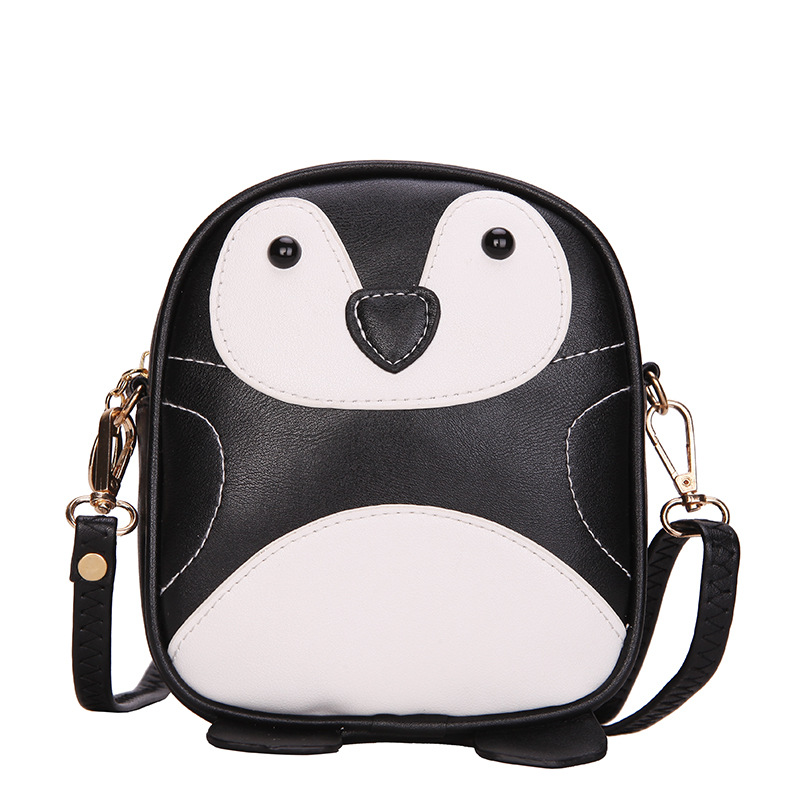 PU leather animal penguin prints children school bags kids travel messenger small pouch bag feminina for kindergarten baby girls
