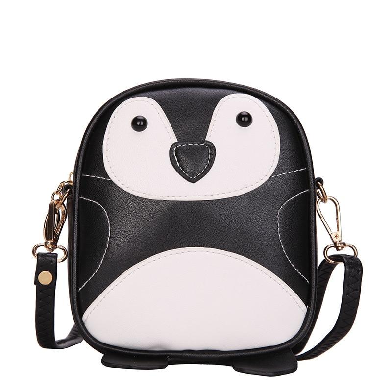3f2e4861e6c9b Pu جلد الحيوان البطريق يطبع الأطفال الحقائب المدرسية للأطفال السفر الحقيبة  حقيبة رسول الصغيرة الأنثوية لرياض الطفلات