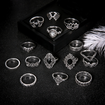 15 PCS/Set Fashion Flower Stone Midi Ring Crown Star Moon Vintage Crystal Opal Knuckle Rings for Women Anillos Mujer Jewellery 4