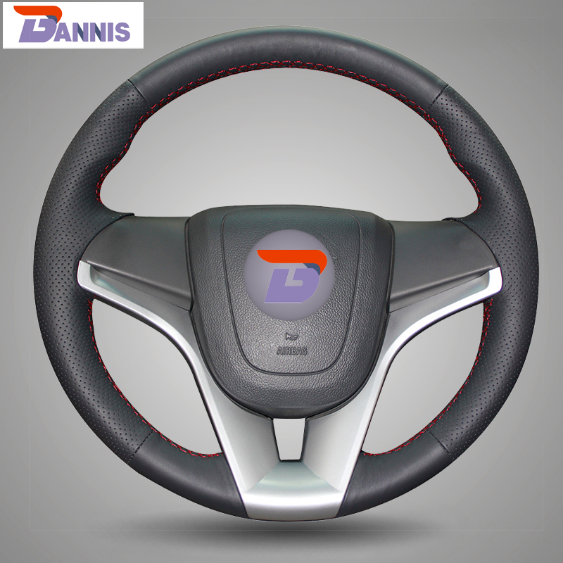 BANNIS Black Artificial Leather DIY Hand stitched Steering Wheel Cover for Chevrolet Cruze Aveo