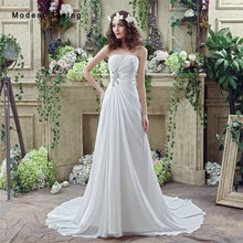 Simple Style Cheap White A-Line Strapless Beaded Pleated Wedding Dresses 2017 Formal Women Garden Bridal Gowns vestido de noiva