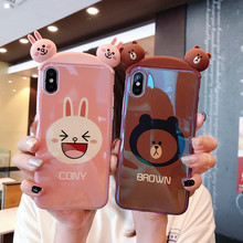 Cony and Brown Bear Glossy silicone 3D case for iPhone XR XS Max X 8 7 6 Plus