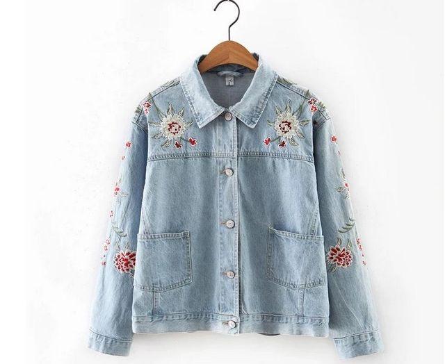 d8031599d1 2016 New Lapel cloth embroidered denim jacket Women Coat Large Size Women  denim jacket