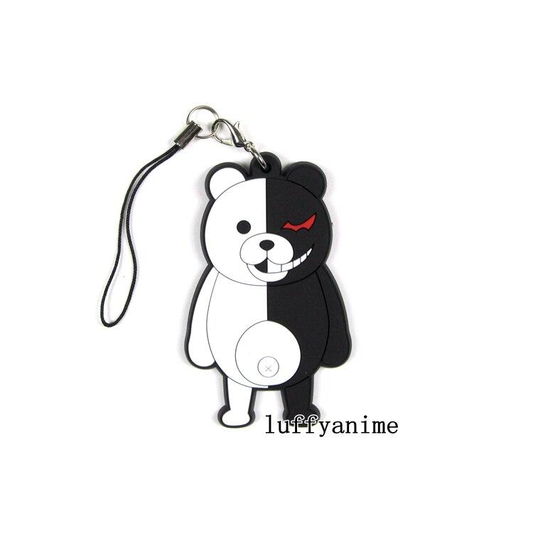 2 Danganronpa Black /& White Bear Monokuma PVC Rubber Mascot Charm Strap