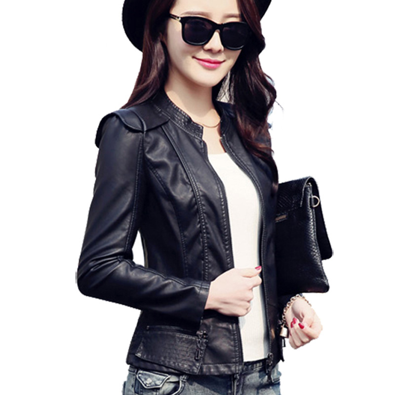 Add Outerwear Jackets Motorcycle Pu Leather Jacket