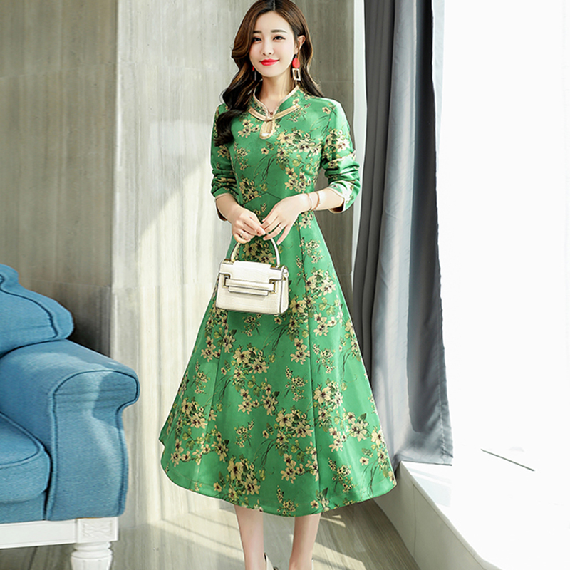 26809554865 De fuchsia Femmes Fleur Robes Re2022 Imprimer Partie Robe Fond Daim Mode  Ladis jaune Stand rose Hiver Automne Vert Peau Long ...