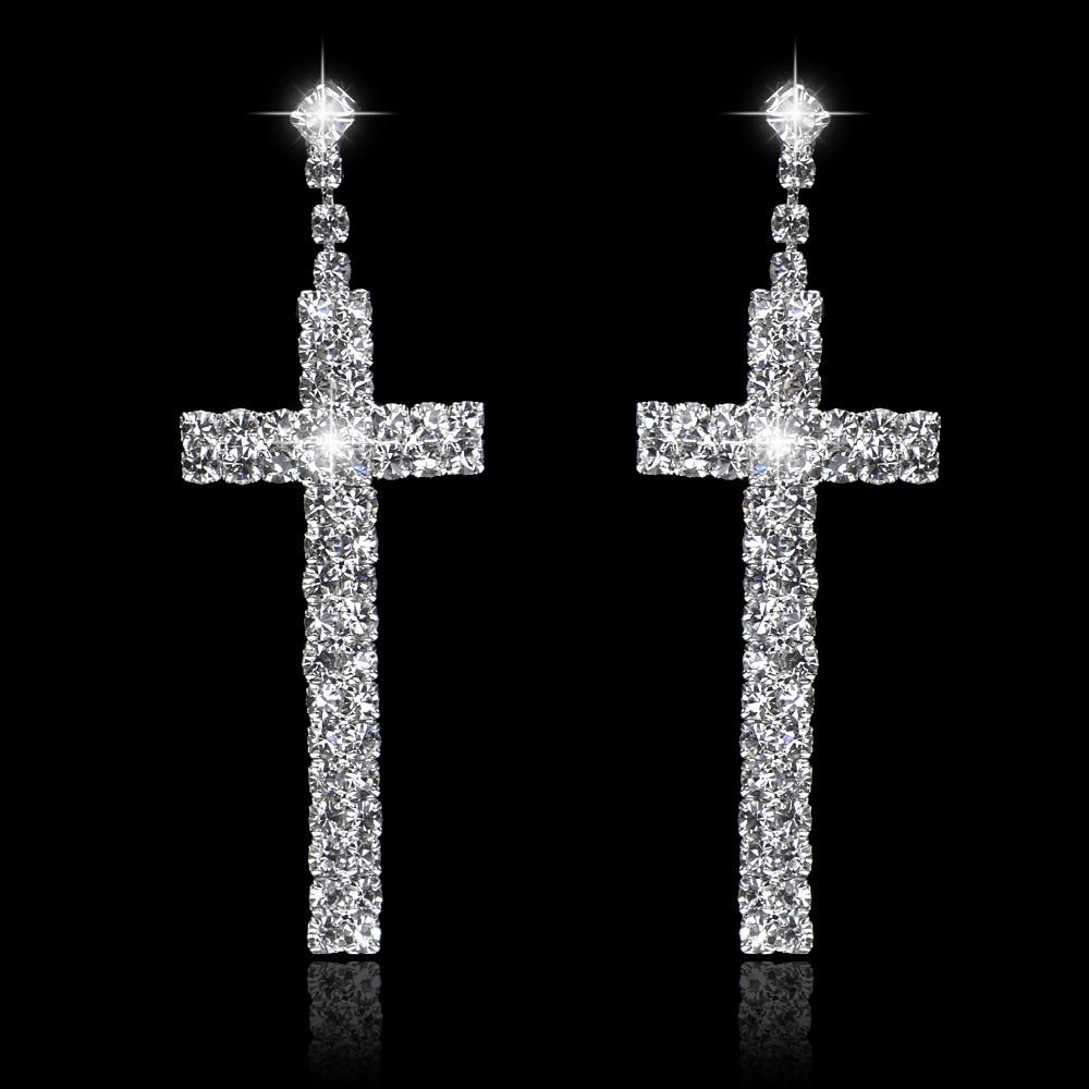 Elegant Cross Design Bridal Long Earrings Sparkling Silver Plated Rhinestone Crystal Dangle Earrings For Women Wedding Jewelry