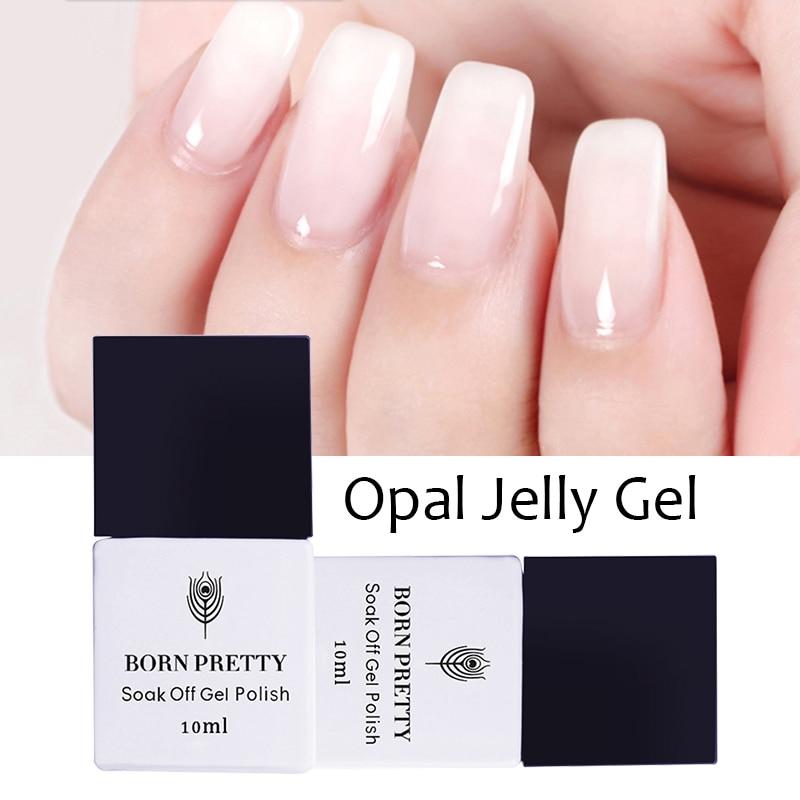 BORN PRETTY Opal Jelly Gel 10ml Pink Jelly Gel Polish Base Coat No Wipe Top Coat White Soak Off Nail UV Gel Varnish 1 Bottle
