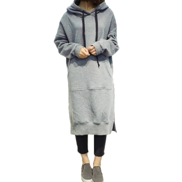 f84d9510006fe Plus Size 5XL 4XL Women Hoodies Dress Long Pullover Loose Winter Hooded  Sweatshirt Big Pocket Oversized hoodie sudadera mujer