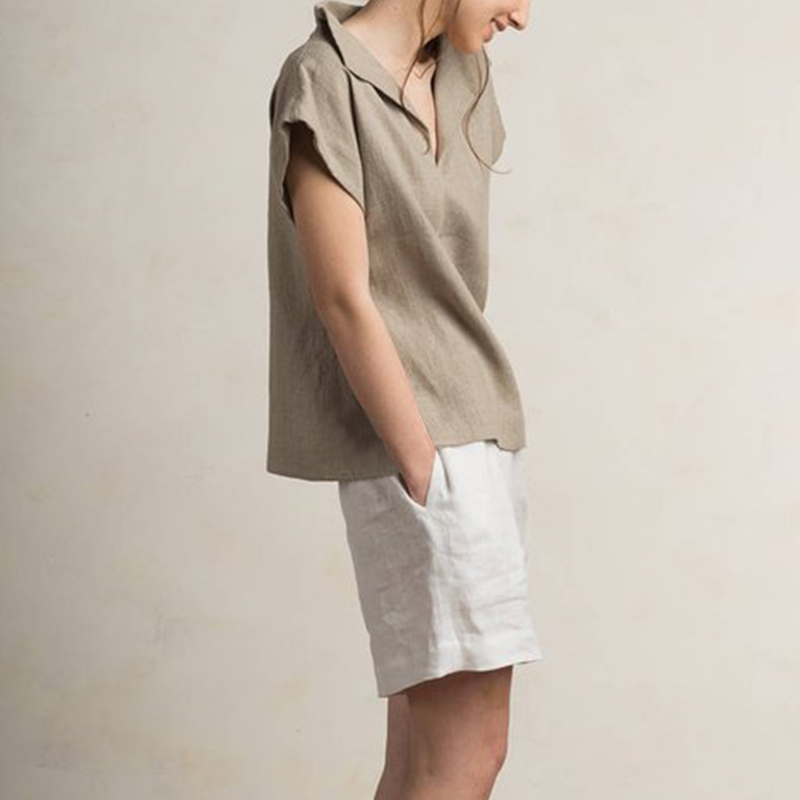 Celmia Women Vintage Linen Tops Plus Size Blouses 19 Summer V Neck Short Sleeve Shirts Casual Tunic Female Blusas Femininas 11