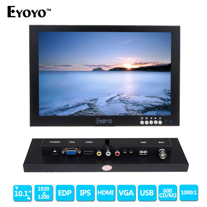 "imágenes para Eyoyo 10 ""LED IPS HD 1920*1200 VGA Video Audio Monitor HDMI para Microscopio, CCTV, DVD, PC Envío gratis"
