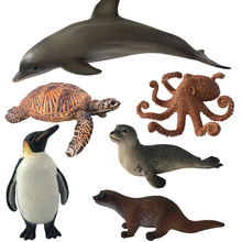 1pc Cute Simulation  Ocean Sea Animals Action Figure Turtle Polar Bear Penguin Early Learning Model Toys Gift For Kids #E