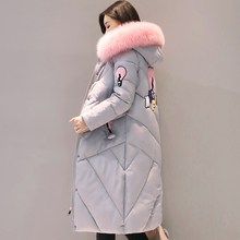 Women Winter Fashion Colorful Faux Fur Character Patch Design Jacket Coat Casual Long Sleeve Cotton Padded Female Long Parkas