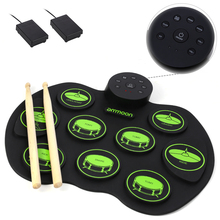 Drum-Pad Electronic-Drum-Set Ammoon Digital Kids Pedals Roll-Up 2-Foot Children for Beginners