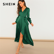 SHEIN สีเขียว Surplice Wrap โบว์เอว Belted Maxi ธรรมดา V คอชุดผู้หญิงสบายๆฤดูร้อน MODERN Lady Elegant ชุด