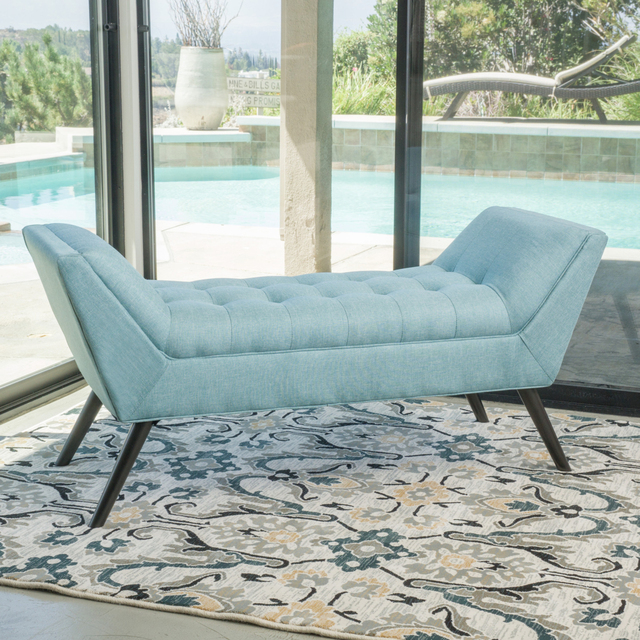 Rouvo Contemporary Blue Fabric Ottoman Bench In Stools Ottomans