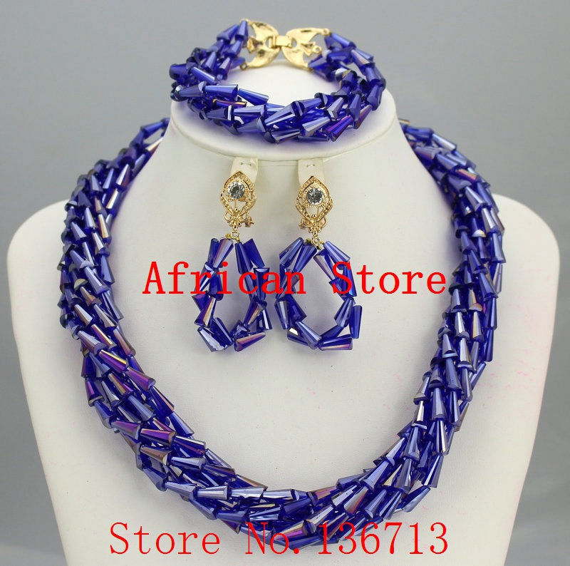 African Jewelry Set Fashion Accessories Glass Beads Crystal Necklaces Matching Drop Earrings Jewelry Sets Women Wedding L051African Jewelry Set Fashion Accessories Glass Beads Crystal Necklaces Matching Drop Earrings Jewelry Sets Women Wedding L051