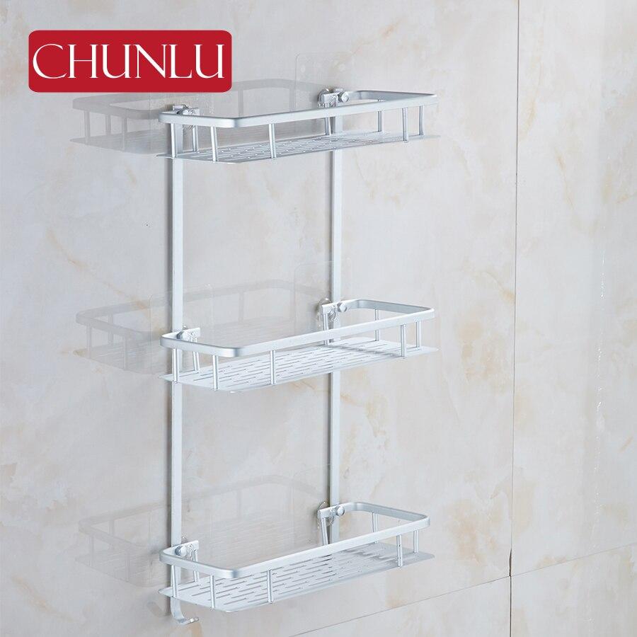 chunlu aluminum 3 layers bathroom shelves tray storage container rack wall shelf soap holder. Black Bedroom Furniture Sets. Home Design Ideas