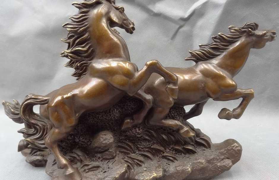 """WBY 13 """"พื้นบ้านจีนบรอนซ์บริสุทธิ์ตกแต่งสัตว์ปีนักษัตร3กระโดดม้ารูปปั้น"""