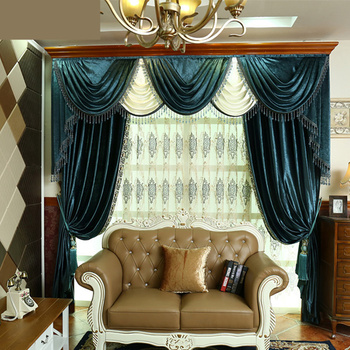 Custom curtain European luxury high-grade velvet cloth curtains  thickened solid blue color cloth blackout curtain tulle E668