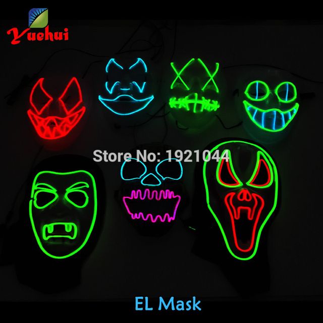 Hot sales Sound Activated Halloween Buck teeth clown Mask EL wire Glowing Flexible LED Neon light For Carnival Party Supplies