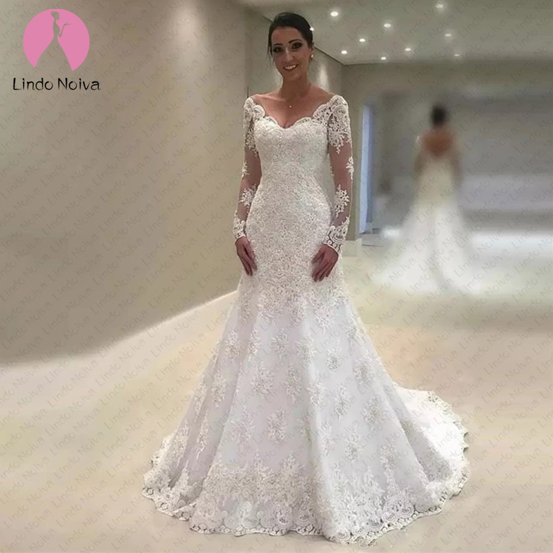 Vestido De Noiva Sereia Branco V-Neck Mermaid Lace Wedding Dress Long Sleeves Bride Dress with Train 2019 Trouwjurk