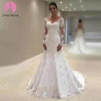 Vestido De Noiva Sereia Branco V-Neck Mermaid Lace Wedding Dress Long Sleeves Bride Dress with Train 2019 Trouwjurk - DISCOUNT ITEM  40% OFF All Category
