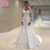 Vestido De Noiva Sereia Branco V Neck Mermaid Lace Wedding Dress Long Sleeves Bride Dress with Train 2019 Trouwjurk