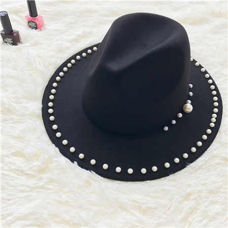 Fedora chapéu feminino inverno outono igreja caps pérola chapéu de feltro senhoras vintage feutre femme feutre dames hoeden kerk