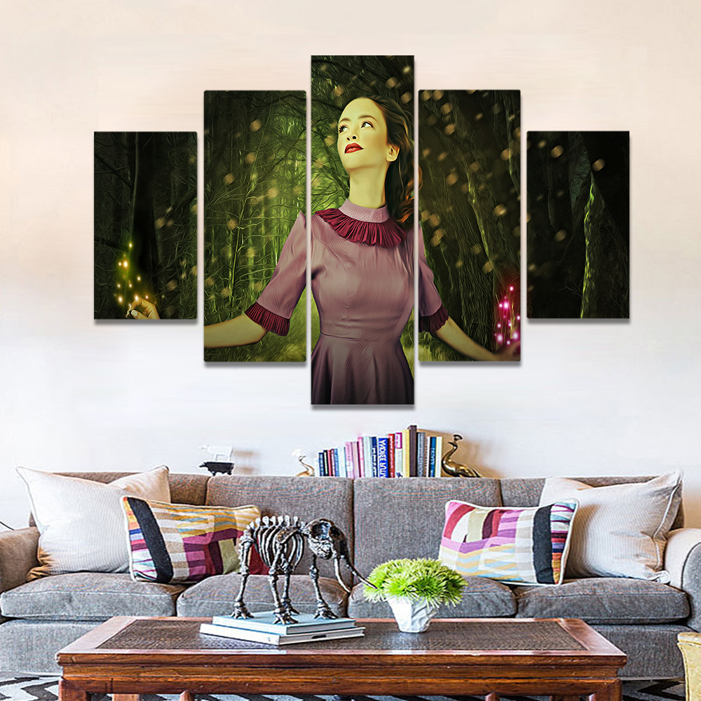Unframed Canvas Painting Forest Dancing Woman Fluorescence Art Picture Prints Wall Picture For Living Room Wall Art Decoration