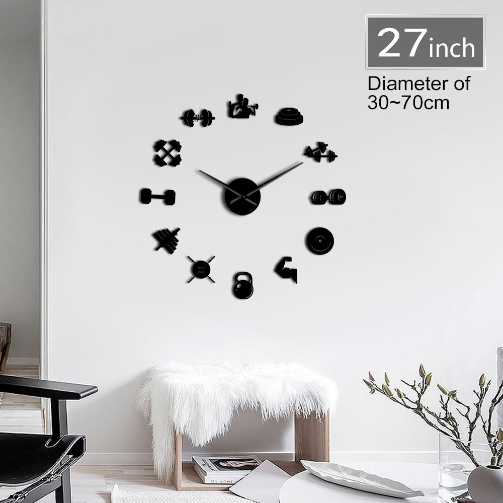 Bodybuilder Sport 3D DIY Wall Clock Unique Bodybuilding Gift For Fitness Lover Gym Acrylic Mirror Effect Wall Decor Clock Watch