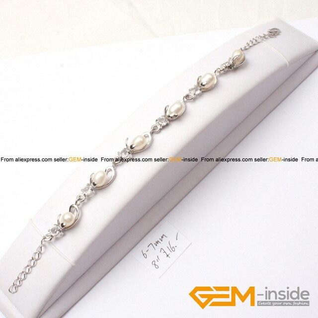 6 7mm Freshwater Pearl & Silver Plated Frame Bracelet 8\