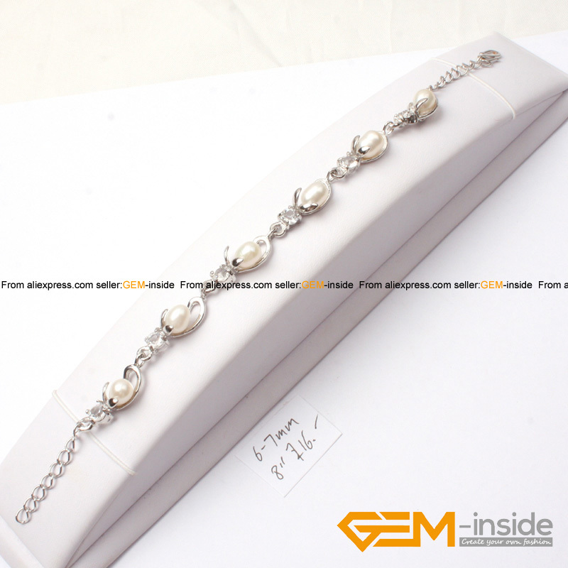 ᗑ】6-7mm perlas de agua dulce y plata plateado Marcos pulsera 8 ...