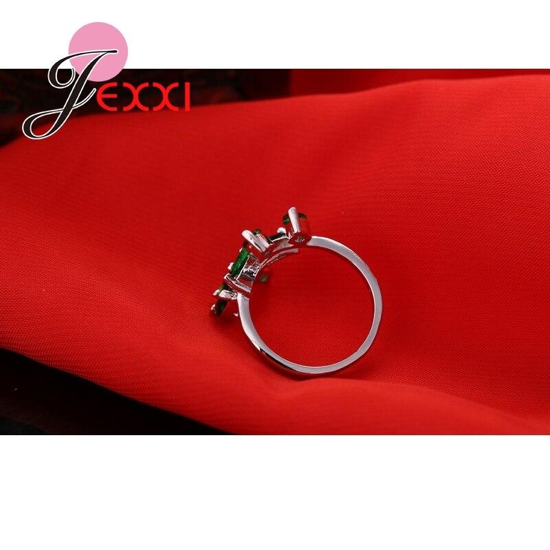 Mode søde friske blade 925 sterling sølv ring med fuld grøn - Smykker - Foto 5