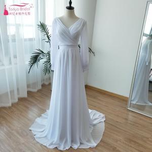 Image 1 - ארוך שרוול שיפון כלה שמלות כלה 2018 מאוחר הקיץ בוהמי חוף Vestido דה Noiva פיות קוריאה Gelinlik ZW056