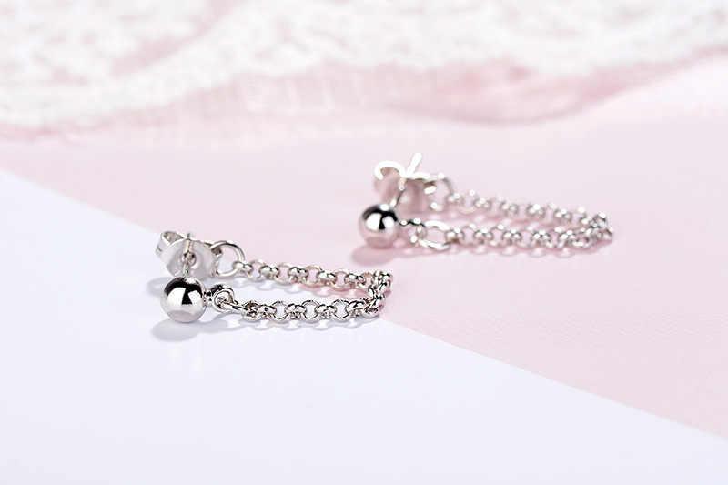 925 Sterling Silver Rantai Rumbai Drop Anting-Anting untuk Wanita Pernikahan Hadiah Perhiasan Sterling Perak Eh1058