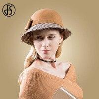 FS Women Vintage 100% Wool Felt Fedora Hat Formal Hats For Women Elegant Black Khaki Ladies Wide Brim Bow Cloche Hat Round Cap
