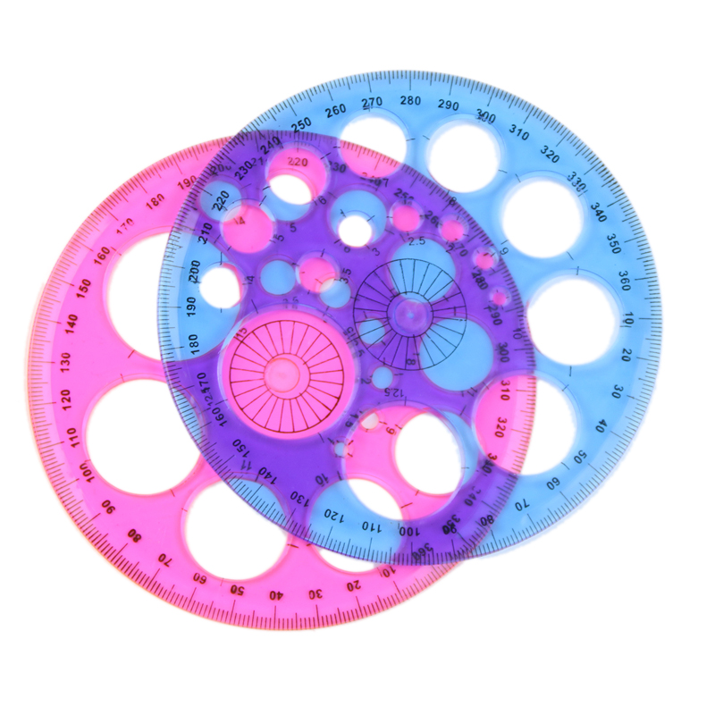 1 Pcs Plastic Blue Red Three Hundred Sixty Degrees Round Ruler Patchwork Ruler Material Escolar Office