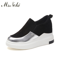 Ms Noki Platform Flock ankle boots fashion Wedge Good Quality women boots Low heel shoes Bling lady boots Hot for Girls