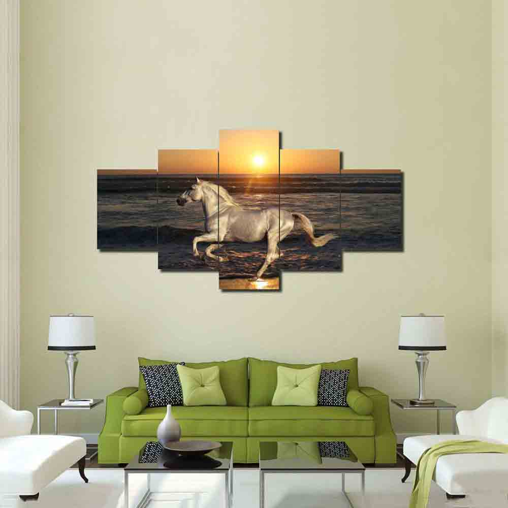 Canvas Wall Art Modular Decor Frame White Horse At Seaside Running Sunset Landscape Pictures Poster Paintings Artworks HD Prints