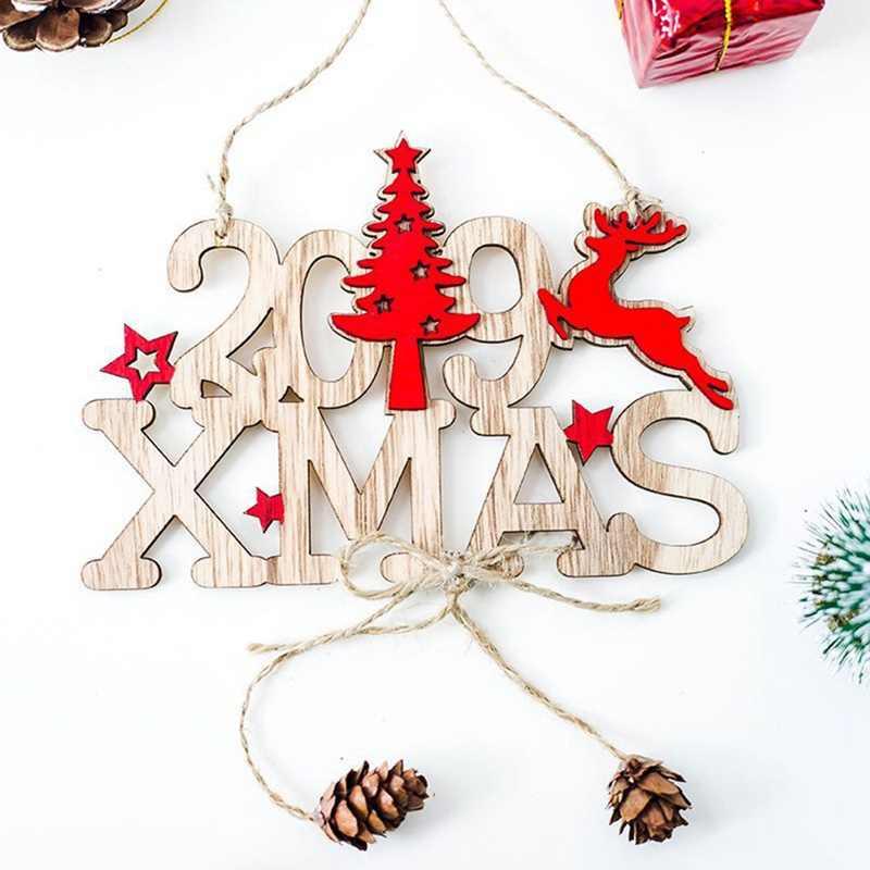 2019 Navidad Año Nuevo madera árbol de Navidad Elk colgantes adornos árbol de Navidad ornamento madera artesanía decoración del hogar fiesta Decoración