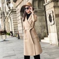 PUDI RO18044 2018 Women Fall Winter new fashion llama fur wool solid jacket with pocket lady long style pocket leisure coat