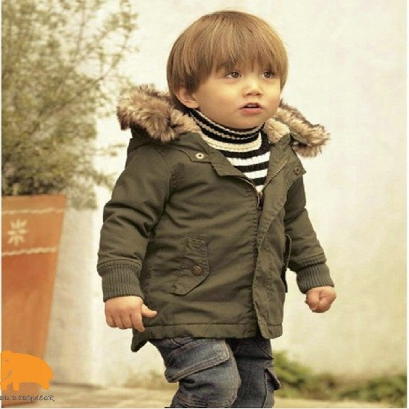 71506d2e3 DW0072 Baby Boys Winter Jacket in Army Green Thick Removable Fur ...